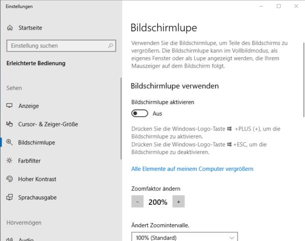 Windows 10: Bildschirmlupe deaktivieren