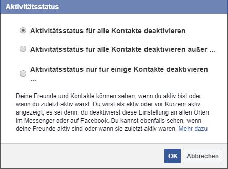 Facebook online Status verbergen
