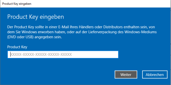 Windows 10: Aktivieren oder Windows Product Key ändern