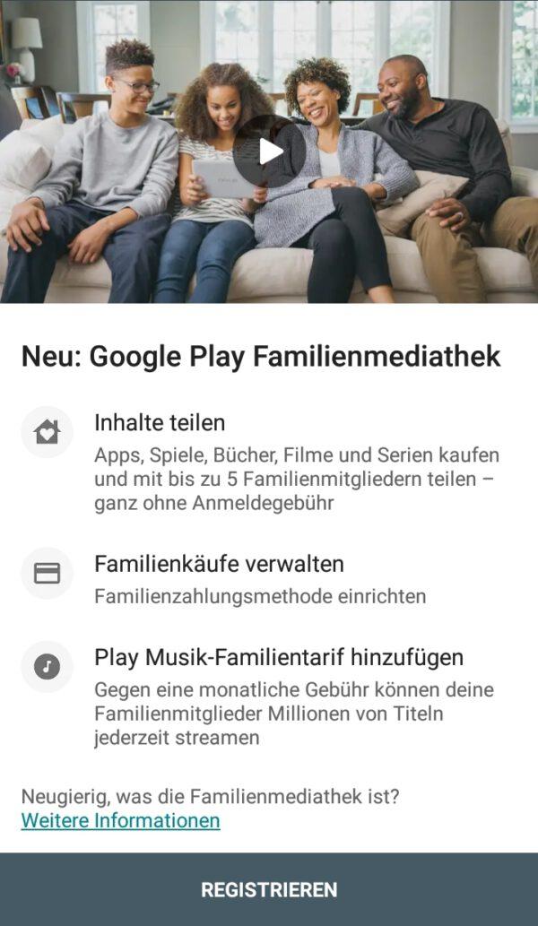 Google Play Store: Apps, Spiele, Filme und Serien teilen