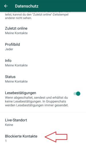 Whatsapp Kontakt entblocken und blockierte Kontakte