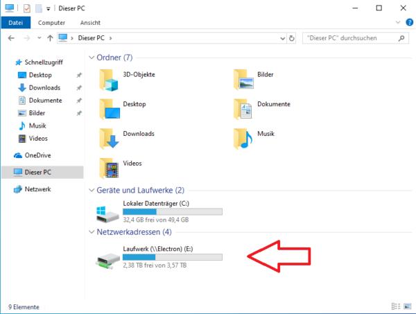 Netzwerkordner unter Windows 10 hinzufügen