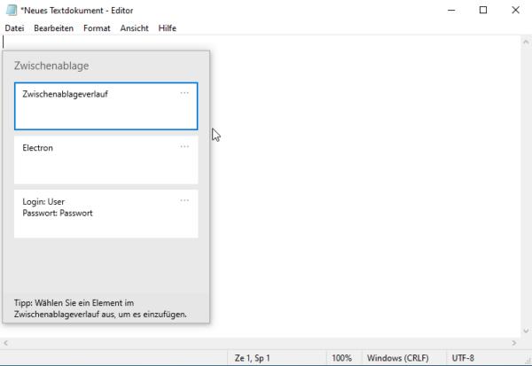 Windows 10 Zwischenablage aktivieren
